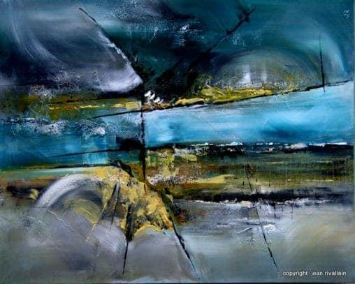 Peinture abstraite moderne bleue