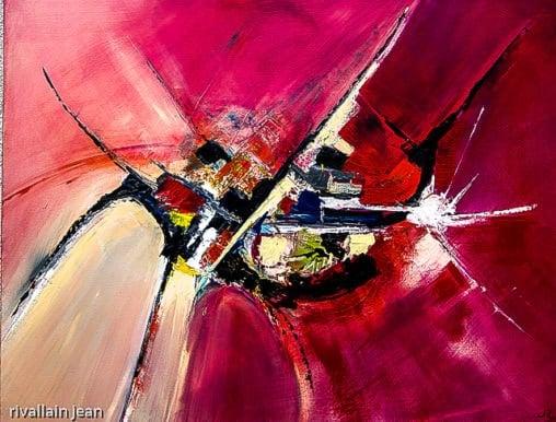 Peinture abstraite rouge