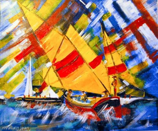 Peinture abstraite Régate