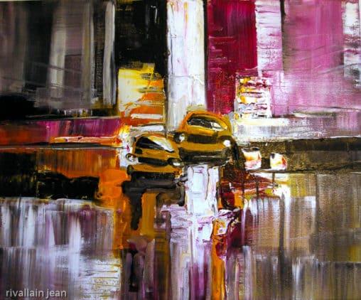 Peinture abstraite Taxi Jaune