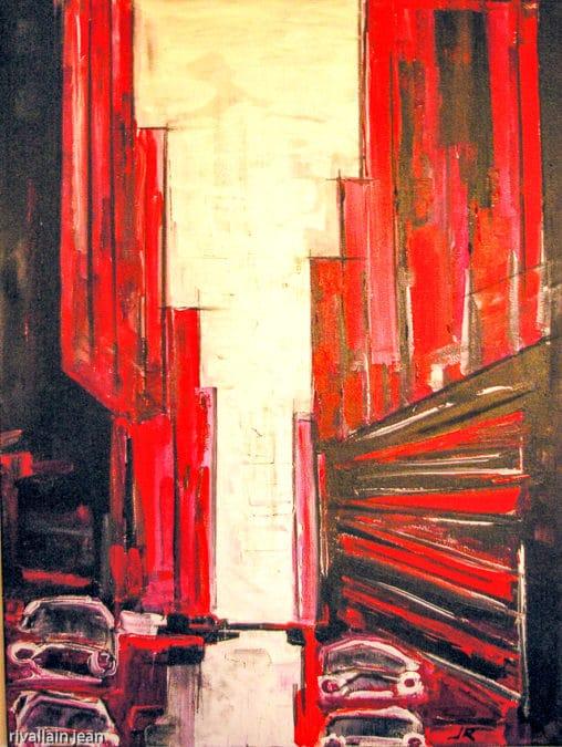 Peinture abstraite ville rouge
