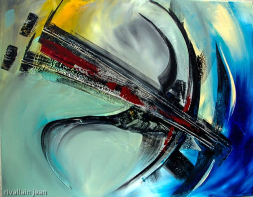 Peinture abstraite bleue