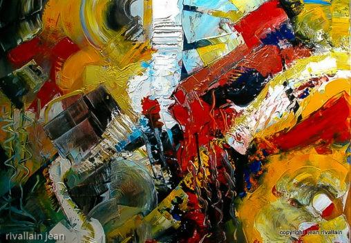 Peinture abstraite rouge et jaune