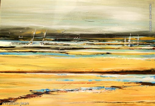 Peinture abstraite paysage jaune