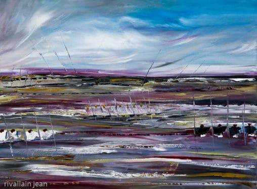 Peinture abstraite bord de mer
