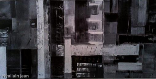 Peinture abstraite noir et blanc