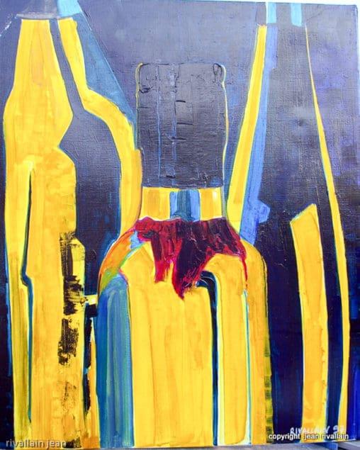 Peinture abstraite jaune et bleue