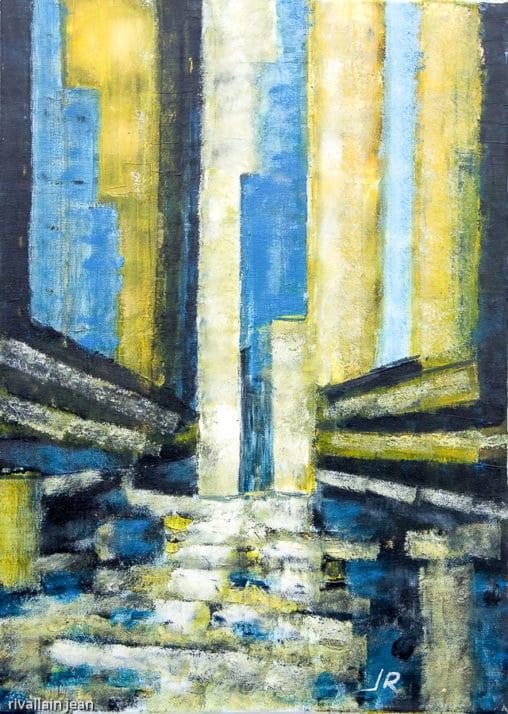Peinture abstraite jaune