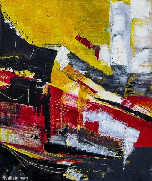 Peinture abstraite jaune et rouge